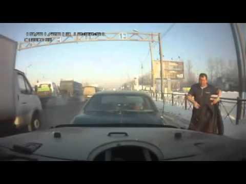 Клюшка ПРОТИВ газового баллончика  Быдло хамы на дороге