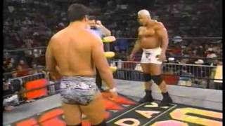 WCW Monday Nitro 9-28-98 Big Poppa Pump Scott Steiner abuses 2 poor poor men
