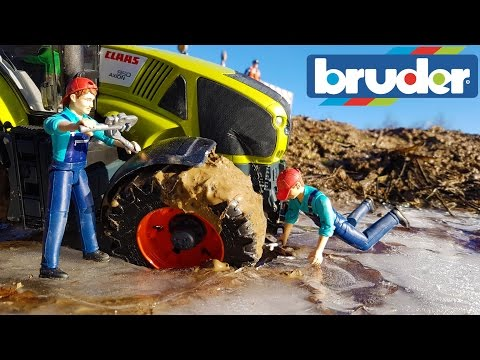 BRUDER toys RC tractor ICE crash!
