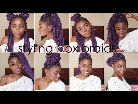 How I Style BOX BRAIDS   8 Quick Hairstyles