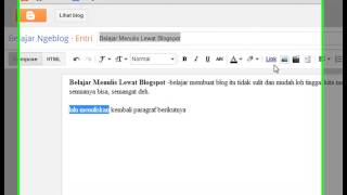 Belajar Ngeblog | Blajar membuat blog di blogger dan cara menulis di blogspot