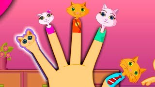 The Finger Family Cat Family Nursery Rhyme | Kids Animation Rhymes Songs