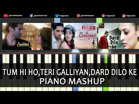 Piano Mashup Bollywood Love Songs Tum Hi Ho,Teri Galliyan,Dard Dilo ke Chords Tutorial Instrumental