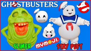 GHOSTBUSTERS SLIMER and STAY PUFT MARSHMALLOW MAN Figures plus MYMOJI Blind Bags Ecto Minis