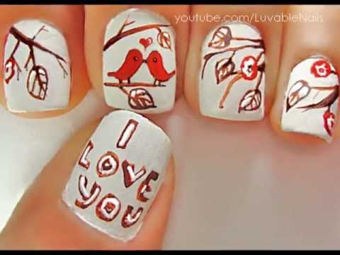  Bird Says I Love You  Nail Art