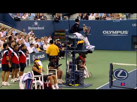 Roger Federer loses his cool, argument with umpire US Open 2009