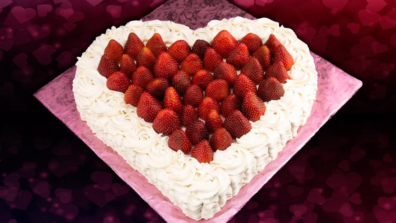 Heart Shaped Strawberry Cake