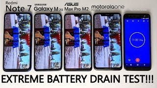 EXTREME BATTERY DRAIN TEST - Redmi Note 7 vs Galaxy M20 vs Motorola One Power vs Asus Max Pro M2!!!