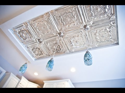 Beautiful Kitchen Ceiling Island DIY - How to install Tin Tiles and Pendant Lights