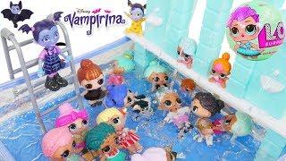 Don't Wake Vampirina Shimmer Shine LOL Surprise Dolls Routine Sister Pool Slumber Party Sleepover!