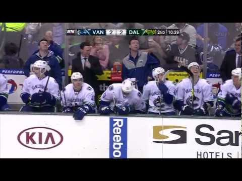 Aaron Rome Shoots at Canucks Bench (Feb 2013)