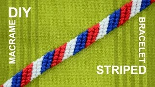 How to Make a Candy Stripe / Diagonal Striped Friendship Bracelet / Beginner