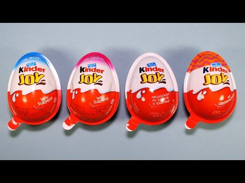 Kinder Joy Surprise Eggs Blue Pink Red Orange Toys for Boys and Girls