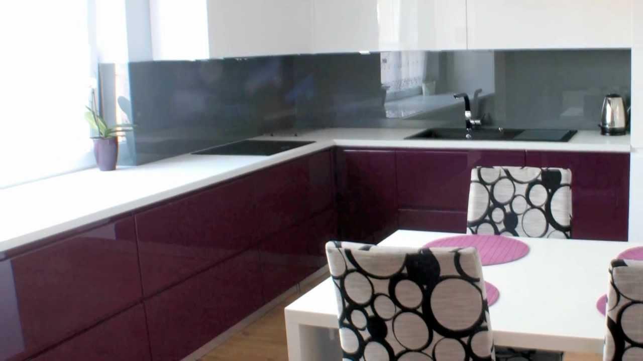 meble kuchenne lakierowane biało fioletowe Mrozu Projekt   -> Kuchnie Meble Kraków