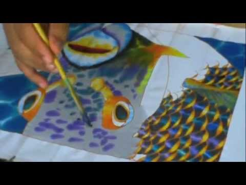 SILK PAINTING WITH JEAN-BAPTISTE - ANGEL FISH
