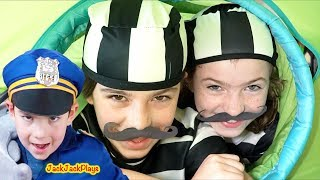 Police Costume Pretend Play with Kids Play Tent Fort: Cops & Robbers Skit