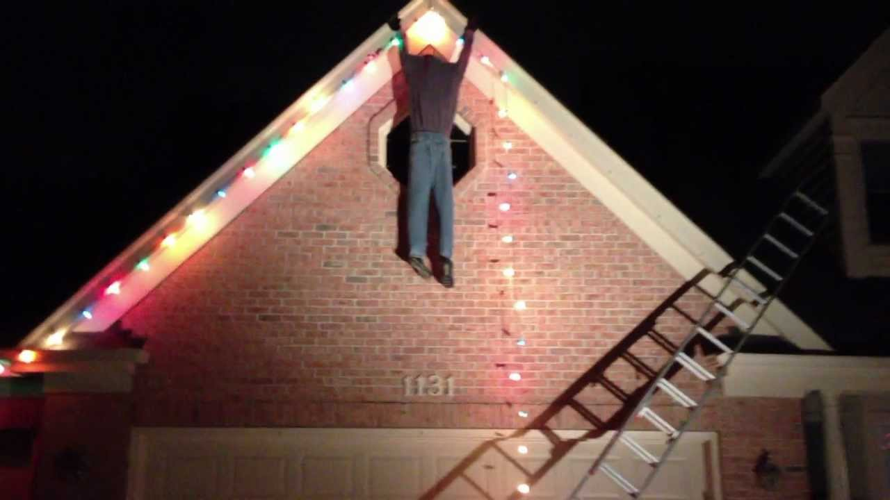 Guy Falling Off Ladder Fail Christmas Decoration Youtube