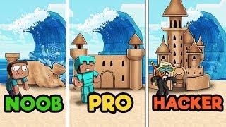 Minecraft - SAND CASTLE TSUNAMI CHALLENGE! (NOOB vs PRO vs HACKER)