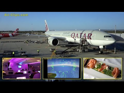 Qatar Airways Boeing 777-300ER Business Class Doha to Perth [AirClips full flight series]