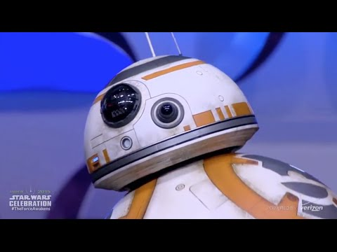 BB-8 droid from The Force Awakens rolls out on stage at