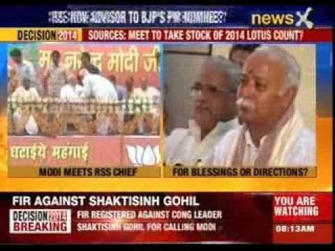 Narendra Modi meets RSS chief Mohan Bhagwat at end of hectic campaign