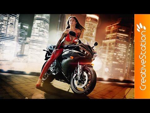 Bike girl - Speed art (#Photoshop) | CreativeStation