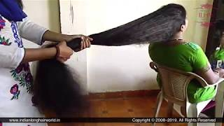 ILHW Calf Length Rapunzel Neelam's Hard Hair Pulling & Hair Combing By Her Female Friend.