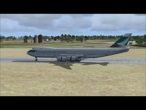 FSX Landing at Baku airport with Boeing 747 Cathay Pacific Cargo