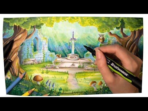Speed Drawing THE MASTER SWORD - The Legend of Zelda - Forest Illustration