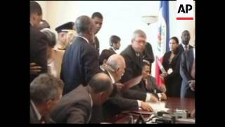 Rene Preval Sworn In As Haiti's New President, Jeb Bush