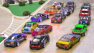 MASS START!! RC model scale DRIFT CARS!! *remote control cars, rc drift