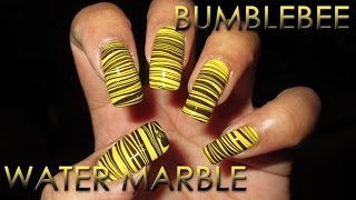 Bumblebee | Water Marble March 2012 #8 | DIY Nail Art Tutorial