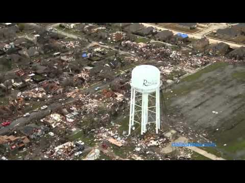 Raw Video: Aerial view of tornado damage in Rowlett