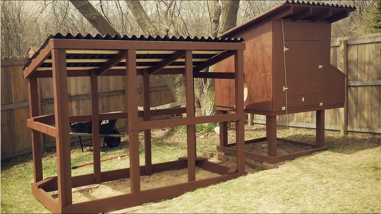 Easy to clean backyard suburban chicken coop youtube for Chicken coop with run for 6 chickens