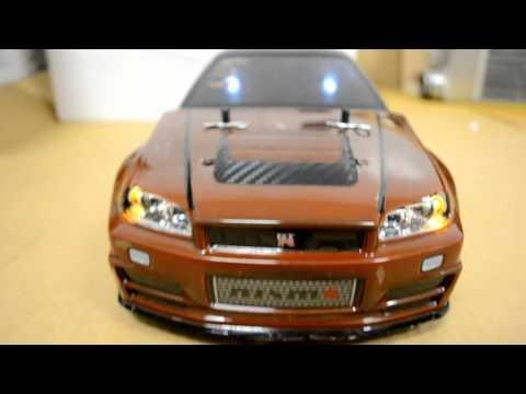 Tamiya 1/10 scale RC Nissan GTR R34 Skyline v-spec wit G.T Power Led Light Kit Drift car