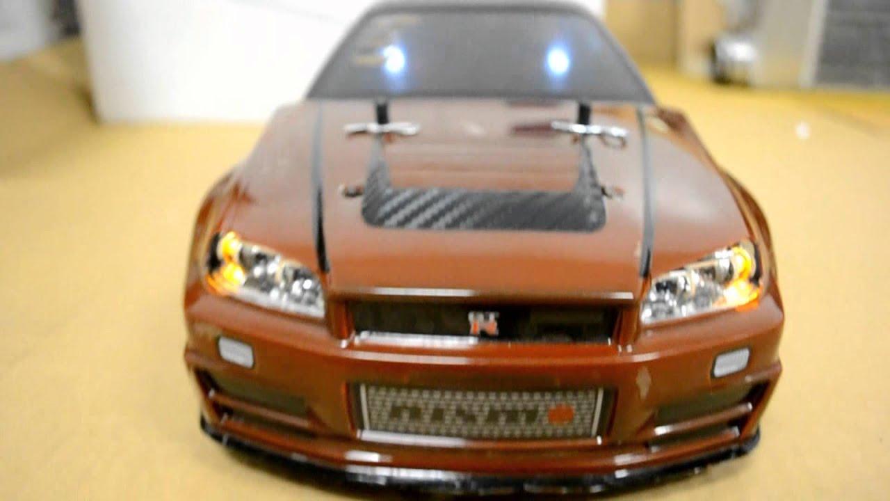 tamiya 1  10 scale rc nissan gtr r34 skyline v-spec wit g t power led light kit drift car