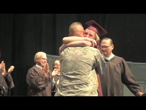 Military dad surprises daughter at graduation