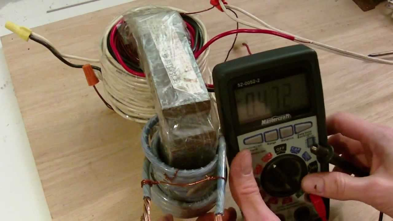 Homemade transformer built from motor youtube for How to create a motor