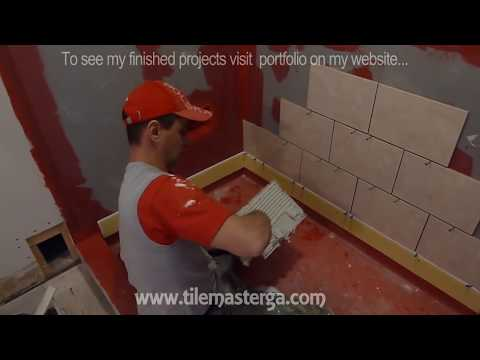 "Part ""2"" How to tile shower stall or tub walls - Where to start shower surround tiles Installation"