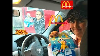 KIDS DRIVING PARENTS CAR TO MCDONALDS HAPPY MEAL