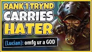 #1 TRYNDAMERE WORLD CARRIES THE TOXIC TROLL (REPORTED FOR HACKING) - League of Legends