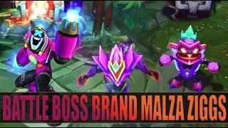 ALL NEW BATTLE BOSS BRAND MALZAHAR ZIGGS Skins Preview - League of Legends