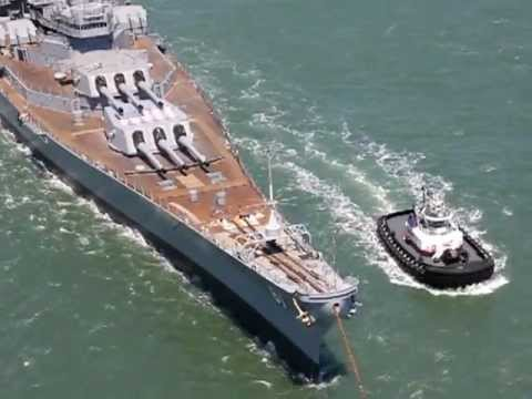 Battleship USS Iowa (BB-61) passing under Golden Gate bridge for her final voyage to LA. 05 26 2012