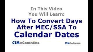 Convert Days After MEC or SSA to Calendar Dates