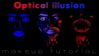 Optical Illusion Makeup Tutorial - Disappearing red & blue face paint
