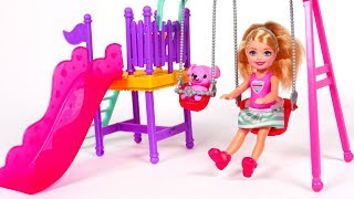 Toy Barbie Baby Doll and Swing Slide Playground Playset for Children