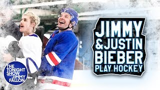 Justin Bieber Teaches Jimmy Fallon How to Play Hockey