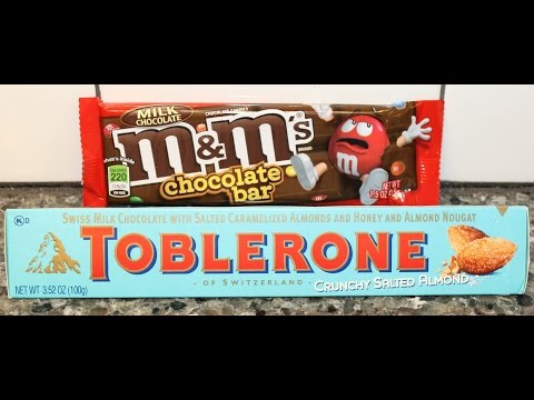 Toblerone: Crunchy Salted Almond Chocolate Bar & M&M's Chocolate Bar Review