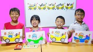 Hunter Kids Go To School Learn Colors Minion Drives Banana | Classroom Funny Nursery Rhymes