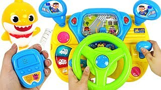 Go Baby Shark Drive a Police car! The villain bothers Tayo! Baby Shark Driving play #PinkyPopTOY